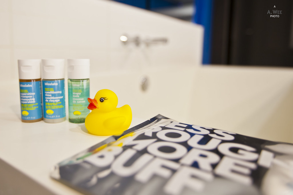 Bath amenities with rubber duck