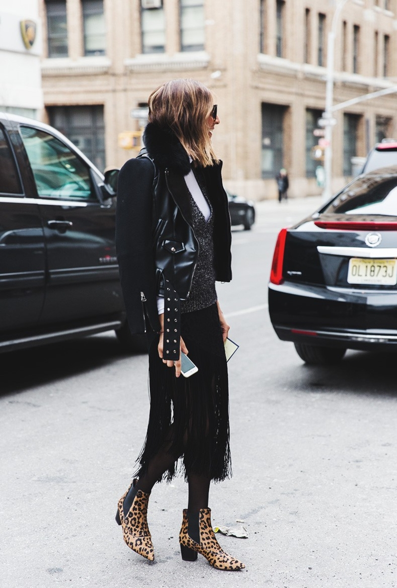 New_York_Fashion_Week-Fall_Winter_2015-Street_Style-NYFW-Fringed_Skirt-Leopard_Boots-Biker_Jacket--790x1185