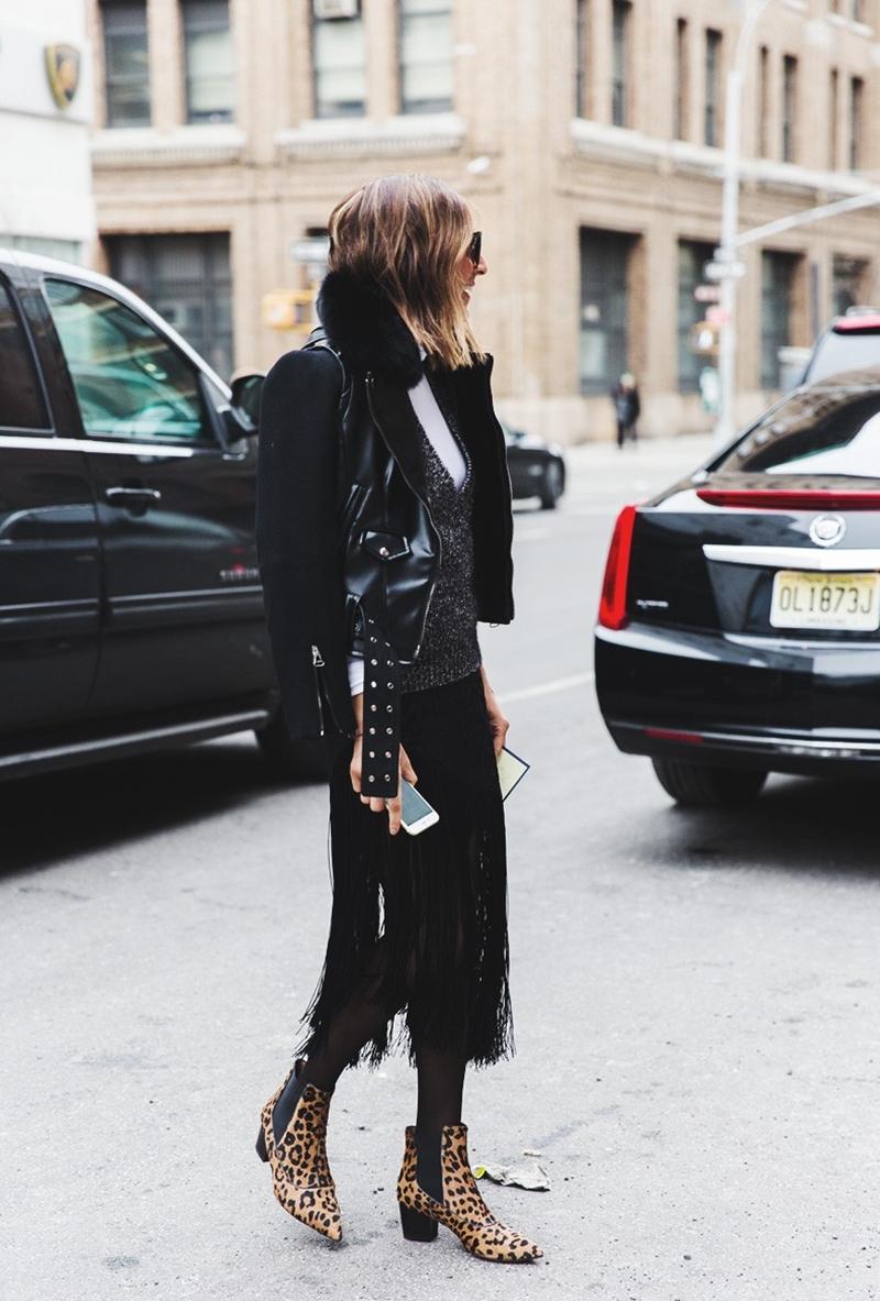 New_York_Fashion_Week-Fall_Winter_2015-Street_Style-NYFW-Fringed_Skirt-Leopard_Boots-Biker_Jacket--790x1185