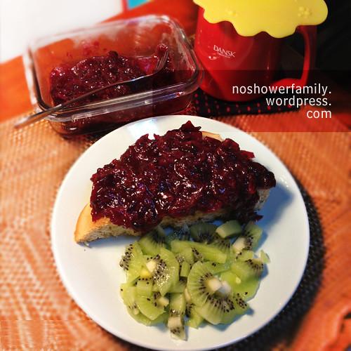 Homemade Roselle Jam, pan cake, kiwi