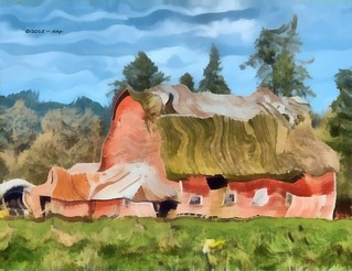 Red Barn and the Ravages of Time ~ Painterly