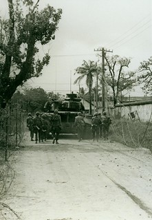 Marines Use an M-48 Tank as Cover, 4 February 1968