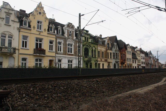 Colourful houses along train tracks - Bonn, Germany