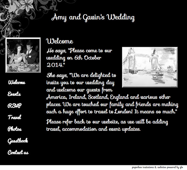 glosite wedding website welcome page