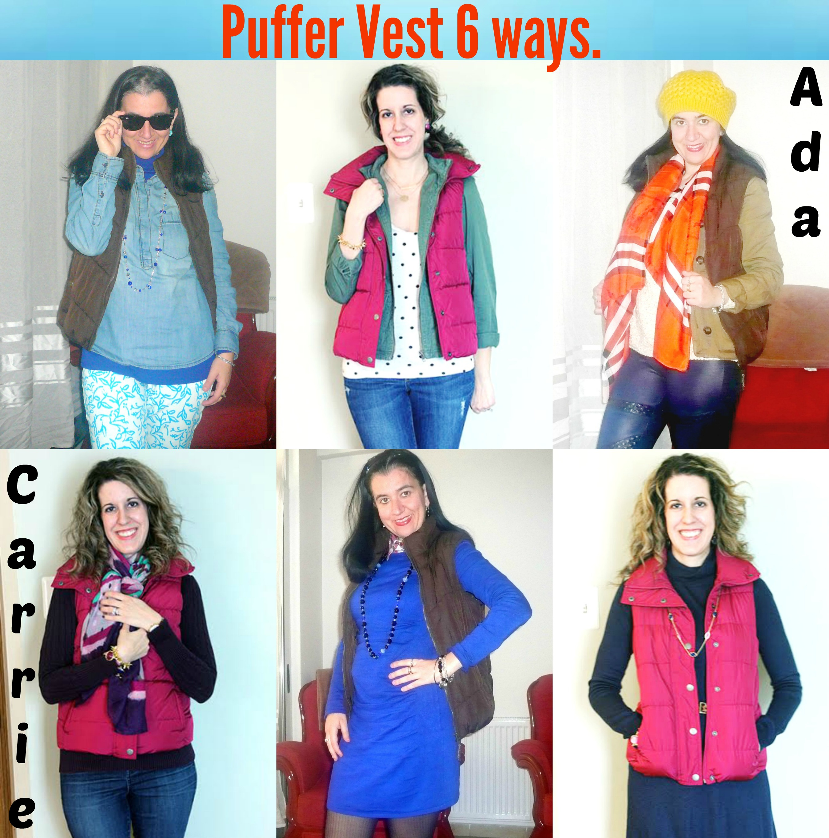 Puffer Vest 6-way Collage