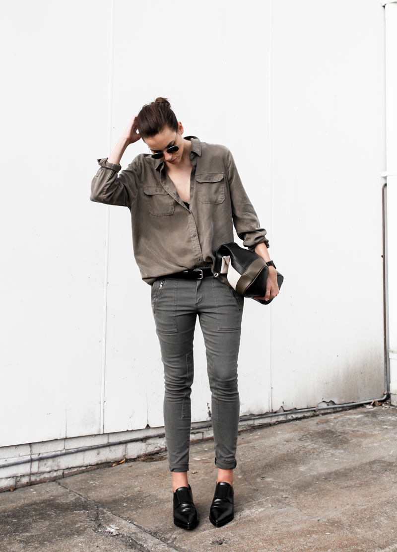 MODERN LEGACY fashion blog Westfield Witchery khaki trend military shirt skinny jeans trio clutch Stella McCartney loafers street style (1 of 1)