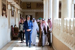 U.S. Secretary of State John Kerry walks with Foreign Minister Saud al-Faisal of Saudi Arabia on March 5, 2015, at Diriya Farm in Riyadh, Saudi Arabia, en route to a meeting with King Salman. [State Department photo/ Public Domain]