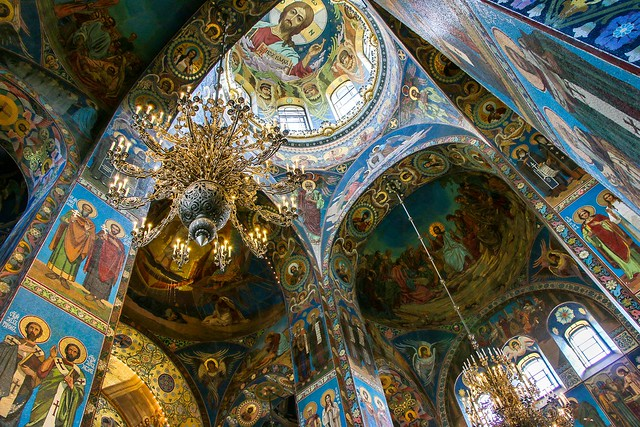 Interior decoration of Church of the Savior on Blood, Saint Petersburg, Russia サンクトペテルブルク、血の上の救世主教会の内部装飾