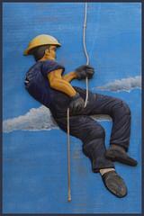 Albuquerque downtown fire station 3D Firefighter Climbing A Wall