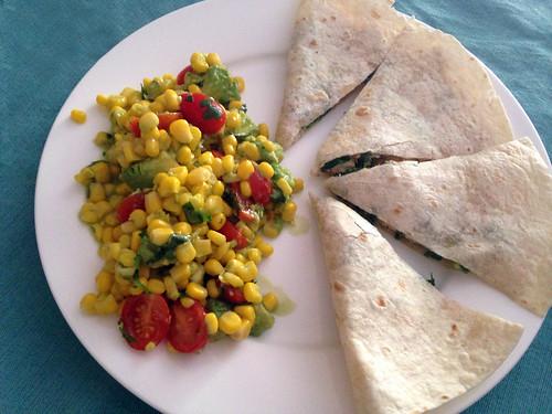 Chicken & Spinach Quesadilla with Corn, Avocado and Tomato Salad