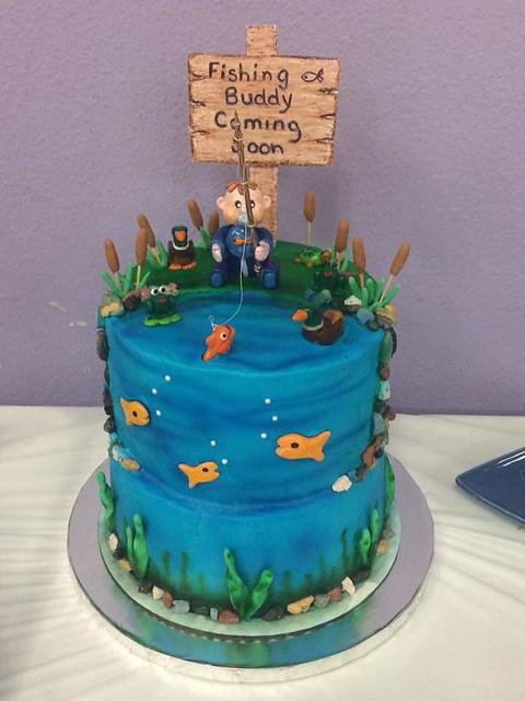 Fishing Buddy Coming Soon-baby shower theme cake with handmade polymer clay figures by Jennifer Elaine Nieto Gomez
