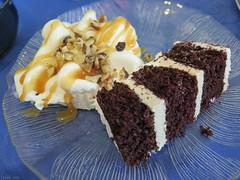 Three layers of chocolate wedding cake