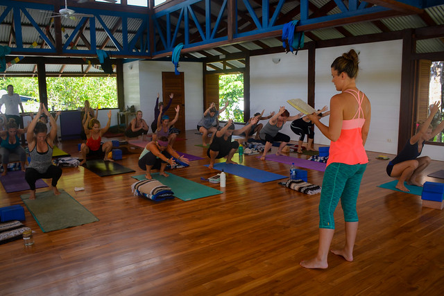 student teaching during 14-day yoga teacher training immersion