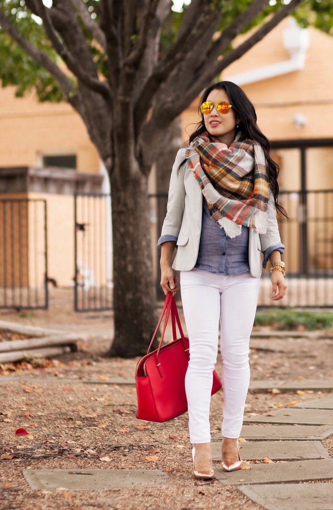 cute & little blog   petite fashion   maternity baby bump pregnant   fall outfit   grey blazer, zara plaid blanket scarf, chambray shirt, white jeans, gold pumps, kate spade red bag, oakley mirrored sunglasses   third trimester 29 weeks