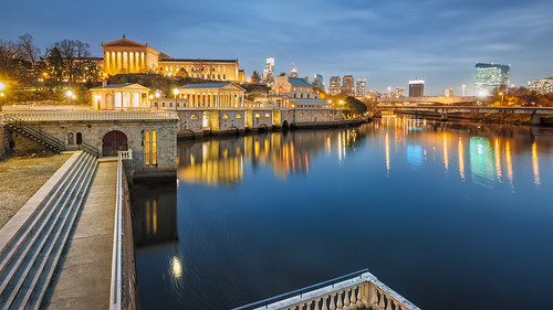 city blue sunset brown black philadelphia water beauty horizontal stone skyline architecture silver buildings reflections river dark evening downtown afternoon image dusk pennsylvania gray tan landmark location architectural historic reflected works restored late restoration walls waterworks schuylkill schuykill ochra outstandingromanianphotographers