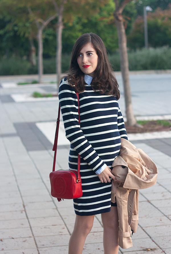 gap stripe sweater dress, gap dress, gap collaboration, sweater dress, stripe dress, gucci disco bag, תיק גוצ'י, שמלת פסים, גאפ, שמלה מגאפ, בלוג אופנה ישראלי, פסים