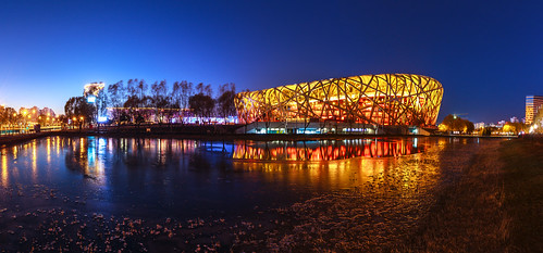 panorama widescreen beijing sunsets 北京 birdsnest nationalstadium 寬景 北京國家體育場 鳥巢體育館