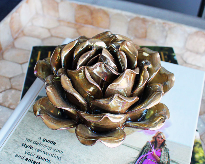 gold decorative rose flower homesense