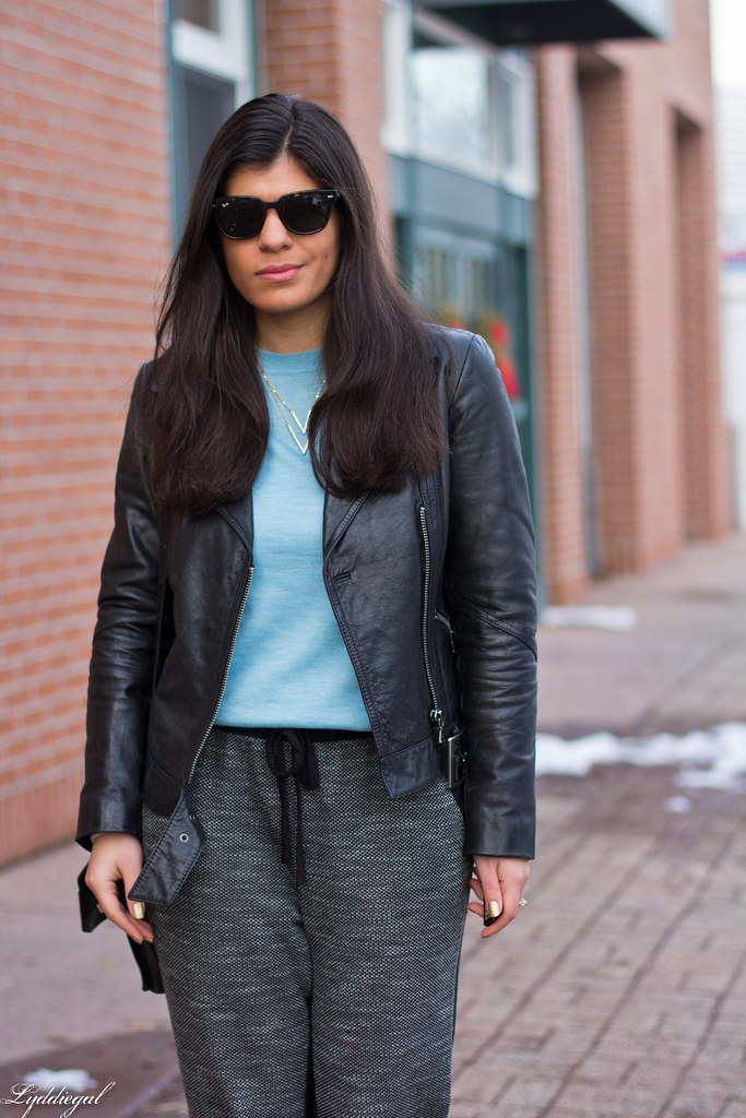 leather jacket, blue sweater, joggers, pumps-1.jpg
