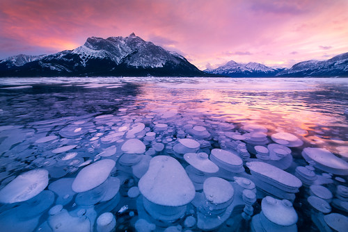 sunset ice bubbles