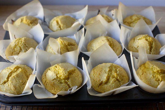 towering, crackly corn muffins