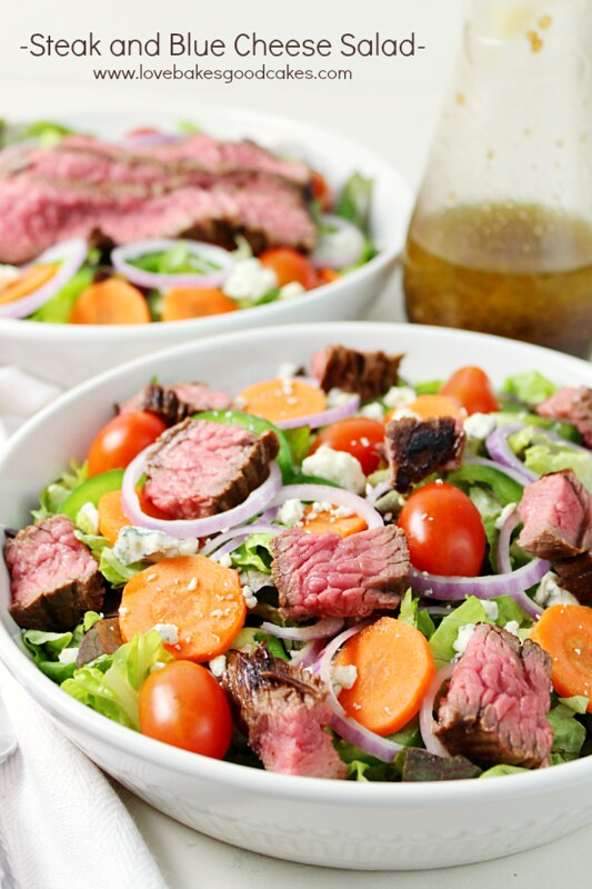 Steak and Blue Cheese Salad in a bowl.
