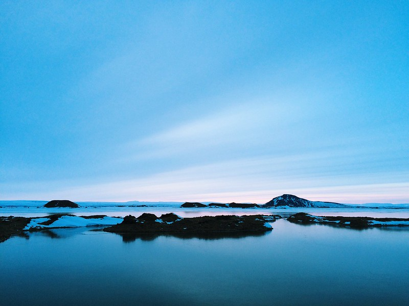A little sunset color reflected on the surface of Mývatn