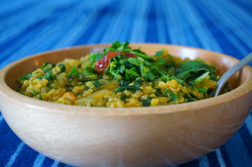 Spicy bulgur and spinach