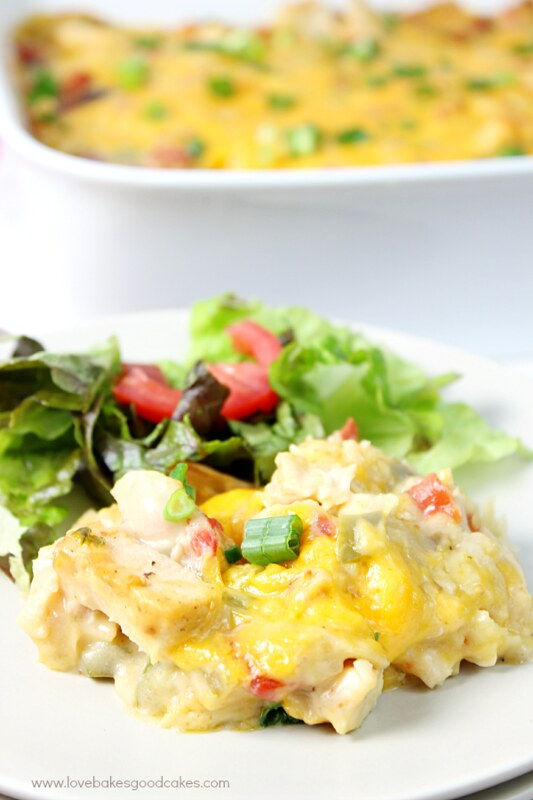 King Ranch Casserole is a classic! It's a creamy, cheesy dish that packs a kick! It's a popular covered dish for potlucks and it's sure to become a family favorite!