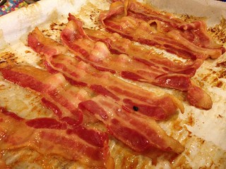Baked Bacon Cookie Sheet Parchment Paper Food