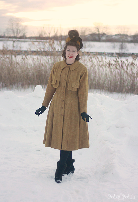 yellow coat in snow 5