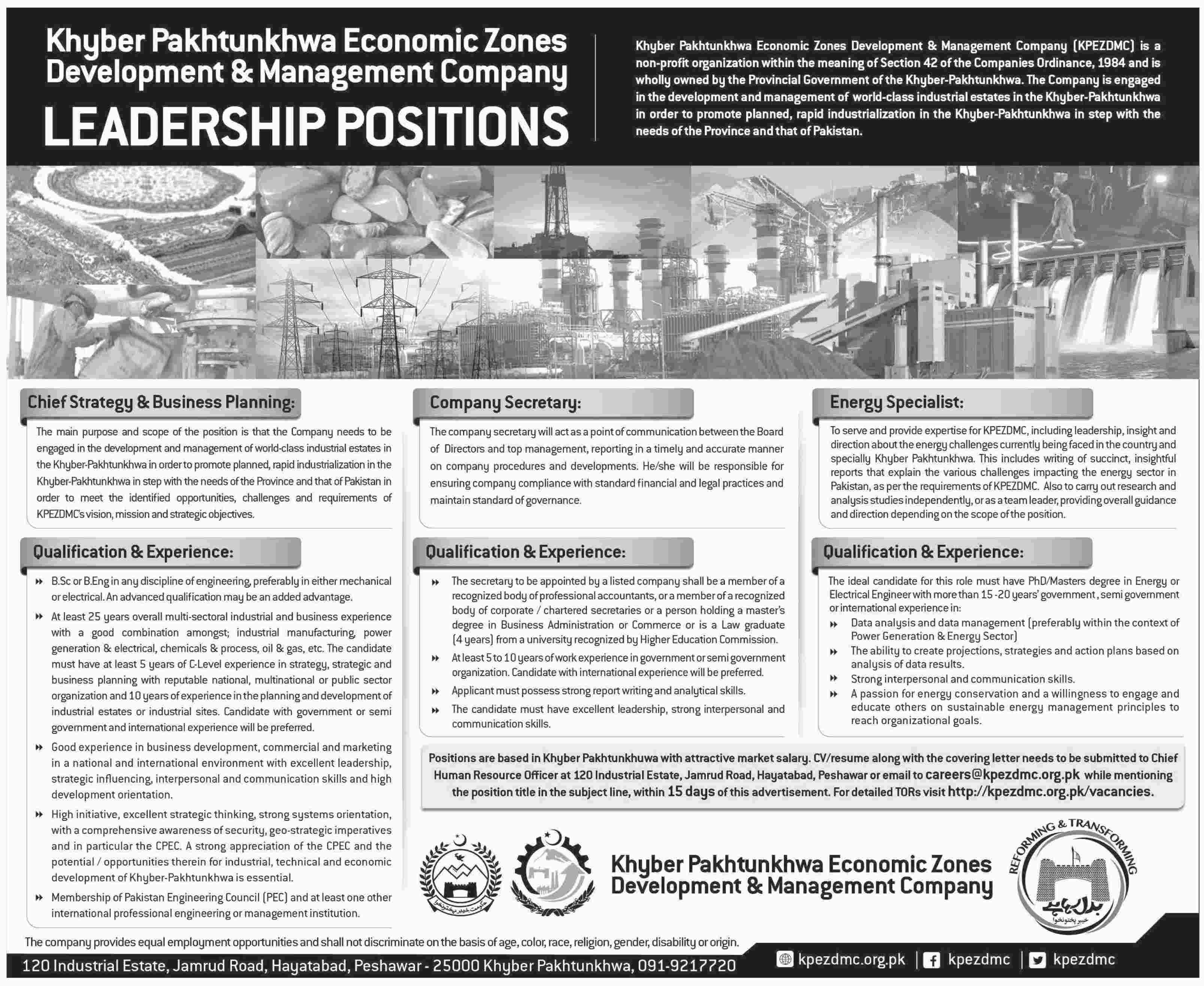 Khyber Pahtunkhwa Economic Zones Development and Management Company Jobs