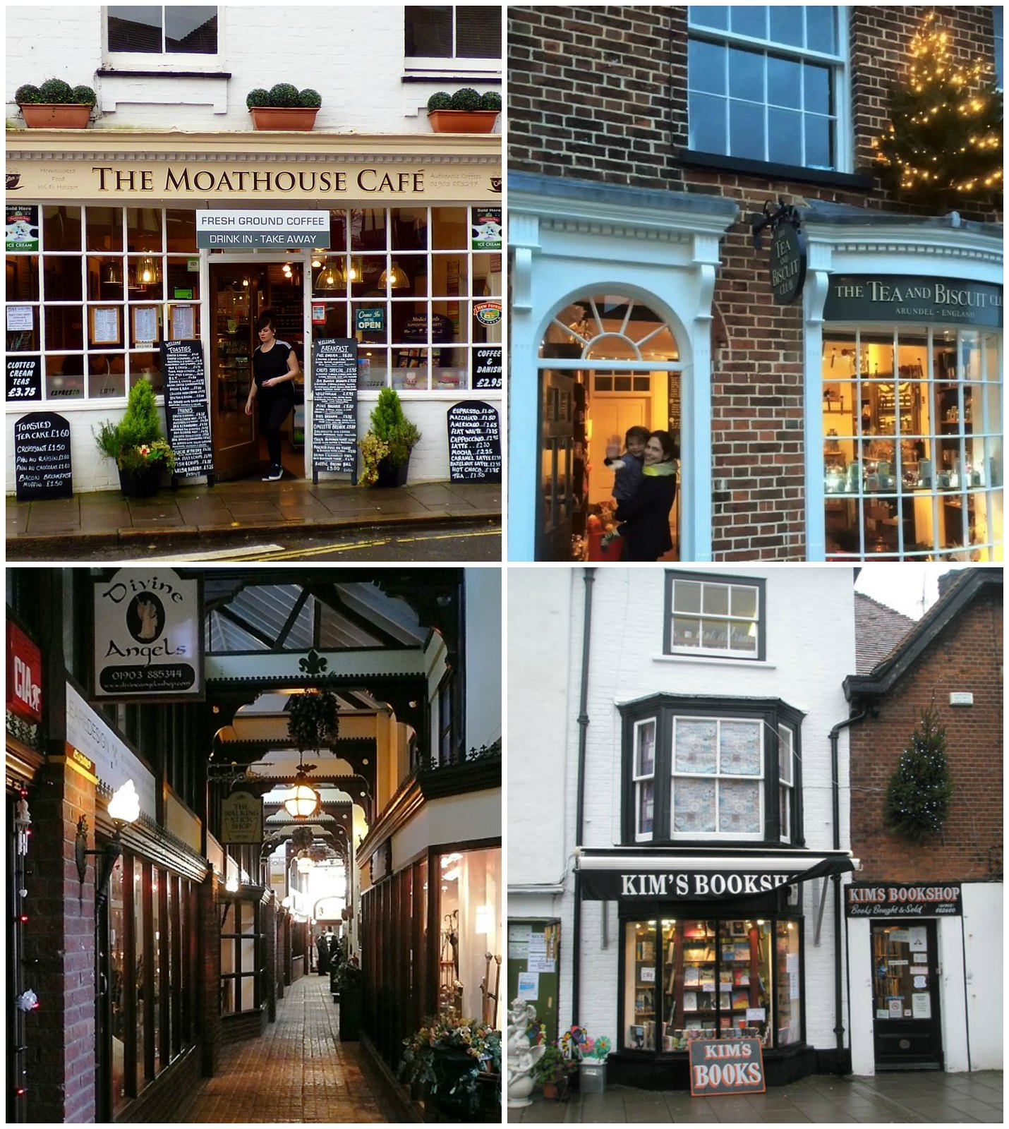 Top left clockwise: The Moathouse Cafe (credit grassrootsgrounds); The Tea and Biscuit Club; Shopping Arcade, Tarrant Street (credit Roger Kidd); Kim's Bookshop (credit Basher Eyre)