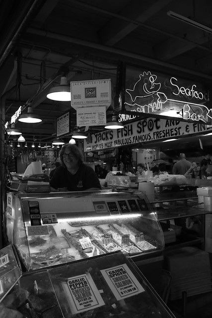 Jerry from The Crab Pot in Pike Place Market.  Seattle, Washington.