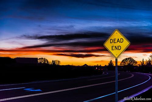 road street pink blue trees sunset red arizona sky orange white art fall sign yellow night clouds landscape photography nikon colorful flash fineart fine az canvas d750 prints marlowe nikkor f4 deadend 24120 alanmarlowe alanrmarlowe nikond750