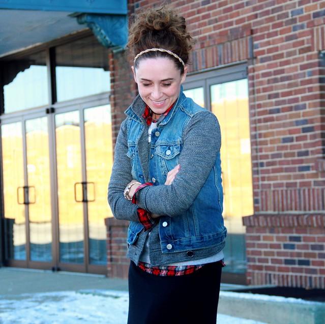 how to style a black maxi skirt for winter via Kristina J blog
