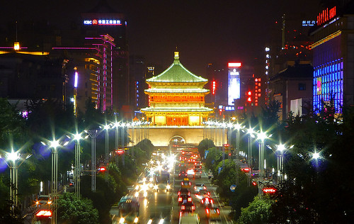 china street city tower wall night gate cityscape view traffic bell south xian 西安 shaanxi 钟楼