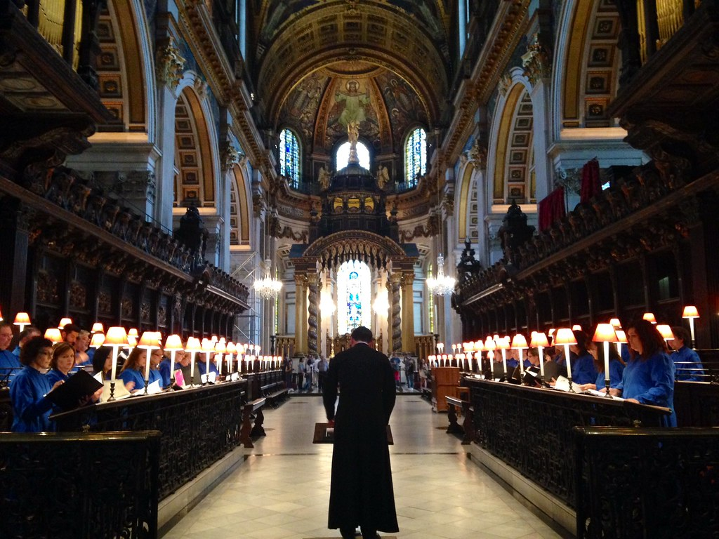 The Choir of St. Wilfrid of York Episcopal Church rehearses in St. Paul's Cathedral in London during its weeklong residency