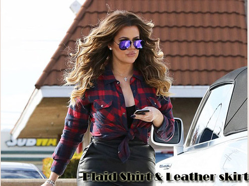 Black leather pencil skirt, red & blue checked shirt & purple mirrored aviator sunglasses: How to wear