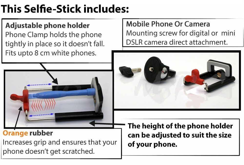 heavy duty strong monopod selfie stick telescopic with bluetooth wireless remote. Black Bedroom Furniture Sets. Home Design Ideas