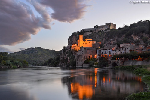 light night clouds river landscape spain europe catalonia catalunya ebro cataluña uban riu miravet ebre