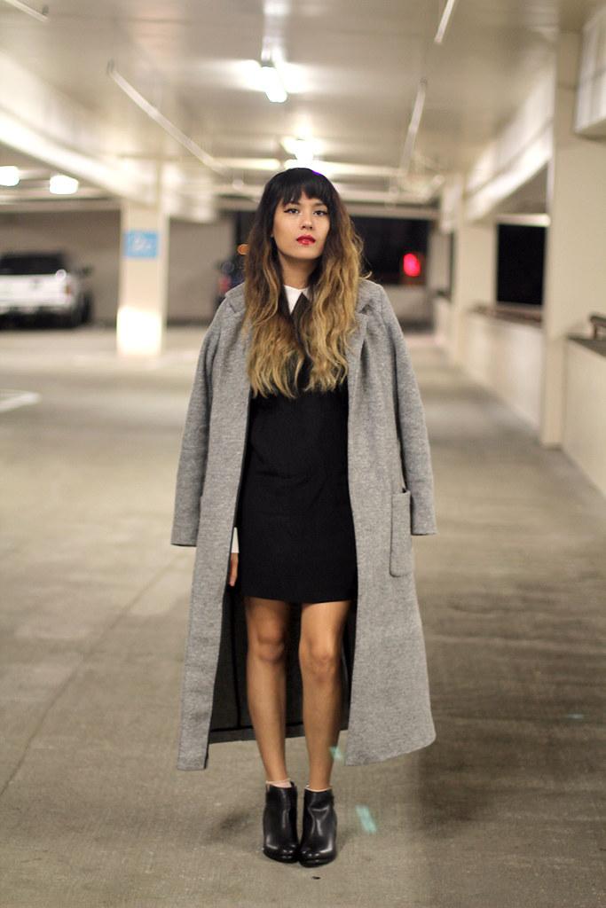 Zara Coat, Reformation dress, Rag & Bone bag, Very Volatile boots