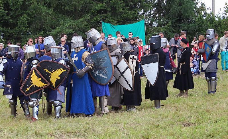 Members of Teutonic Order at historical restoration in Dudutki, Belarus