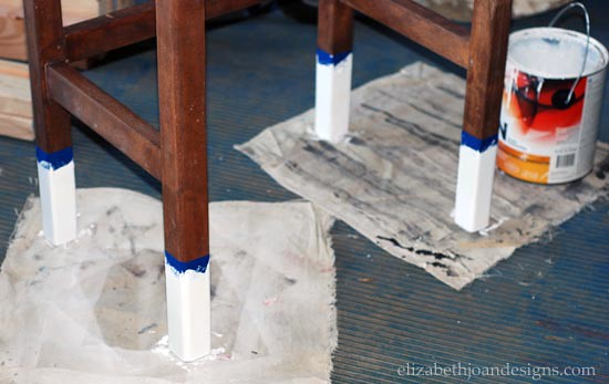 Stained Desk with Paint Dipped Legs