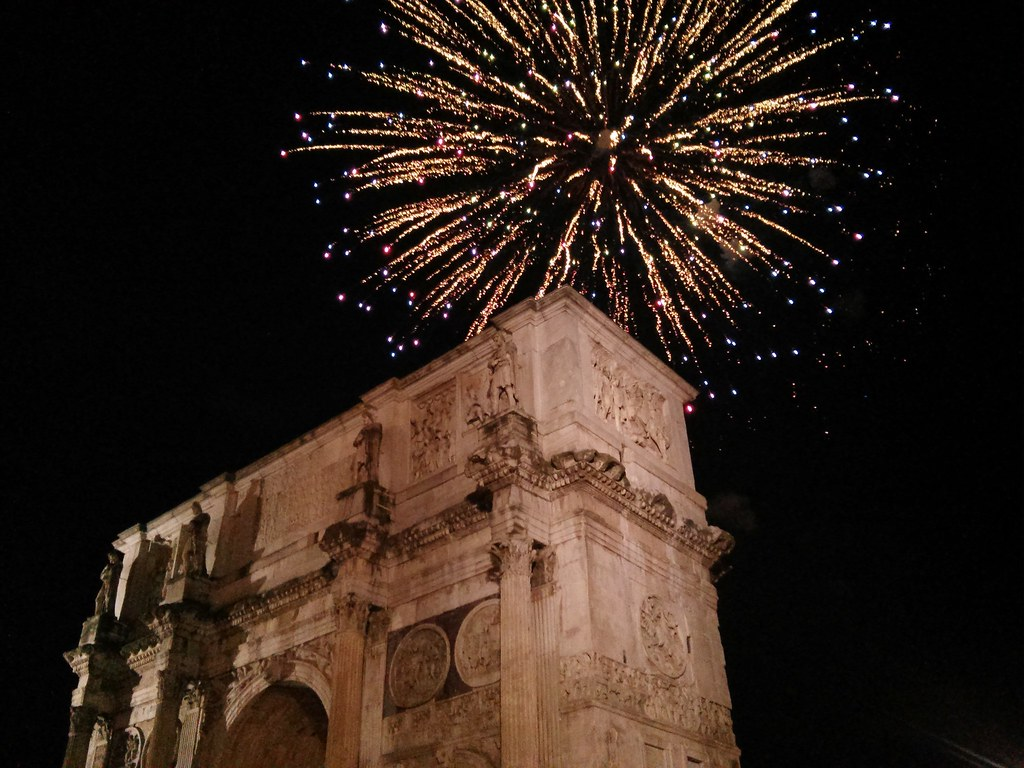 New year fireworks, Arch of Constantine