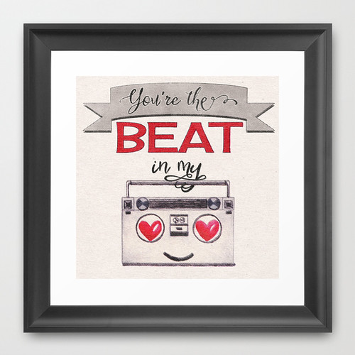 You're the Beat in My Boombox - framed print by Squibble Design on Society6