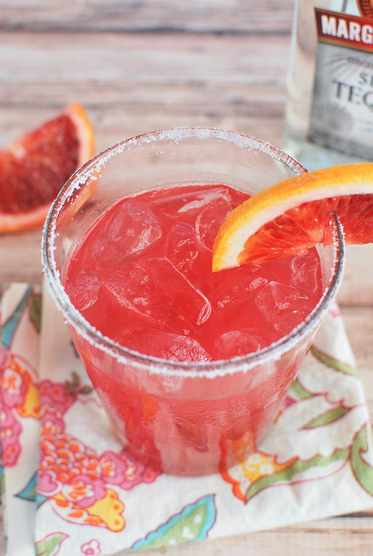 Blood Orange Margaritas - the perfect winter margarita! Fresh blood orange juice, lime juice, tequila, and orange liqueur.