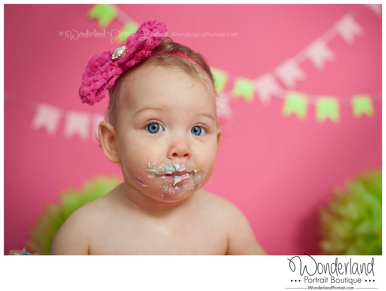 First Birthday Shoot Ideas Cake Face WonderlandPortrait.com
