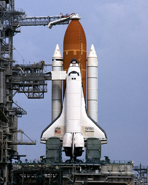 Space Shuttle Discovery on Launch Pad 1995