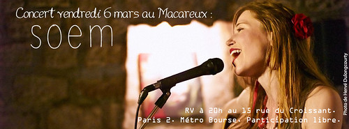 Soem en concert au Macareux le 6 mars 2015 à 20h.